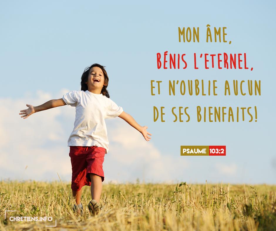 Mon âme, bénis l'Eternel, et n'oublie aucun de ses bienfaits ! » (Psaumes  103:2) - Etudes bibliques - Journal Chrétien