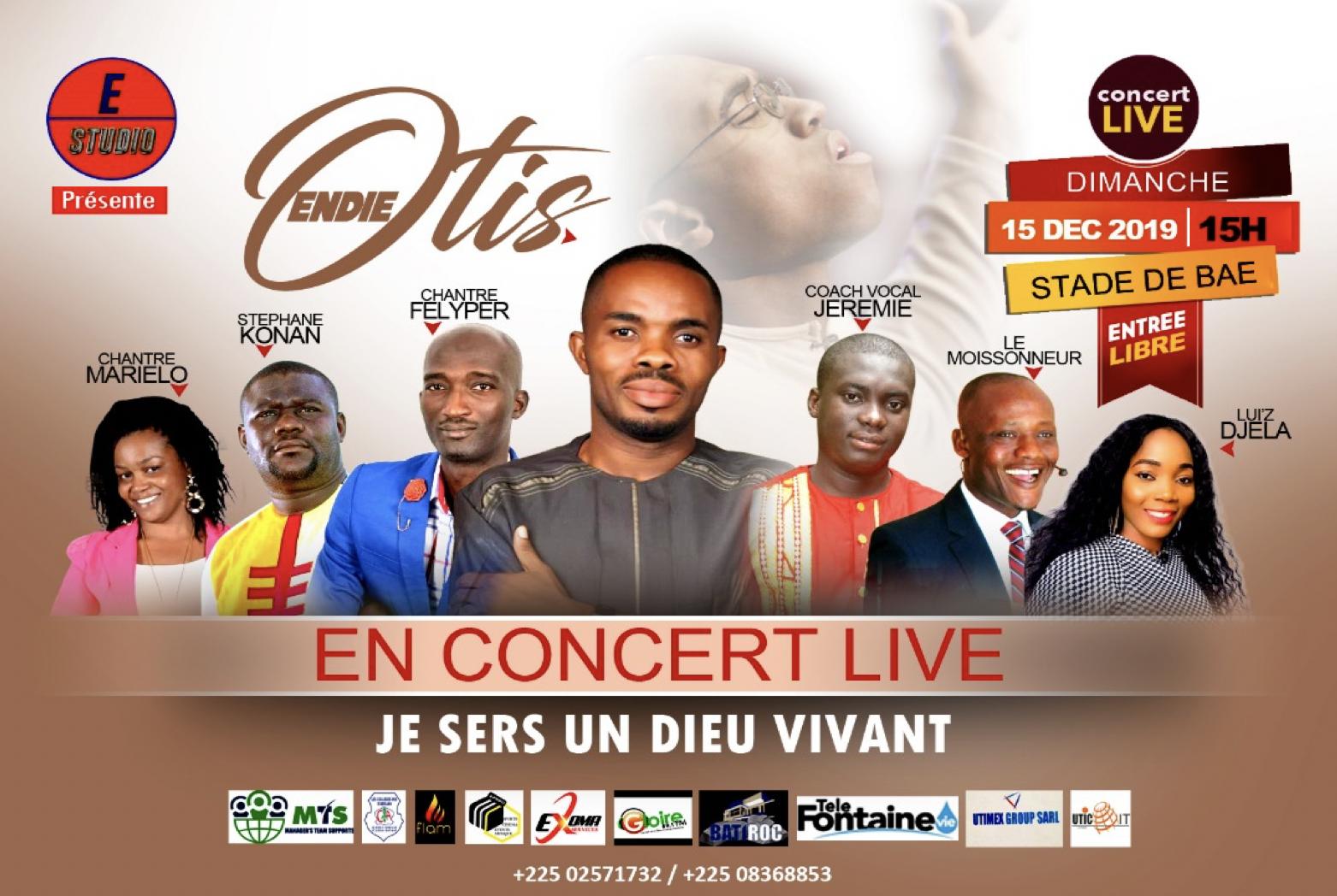 Les chrétiens de Côte d'Ivoire sont massivement invités au prochain concert d'Otis Endie Onyeani qui aura lieu le 15 décembre prochain à Yopougon, la plus grande commune d'Abidjan, la capitale économique ivoirienne.