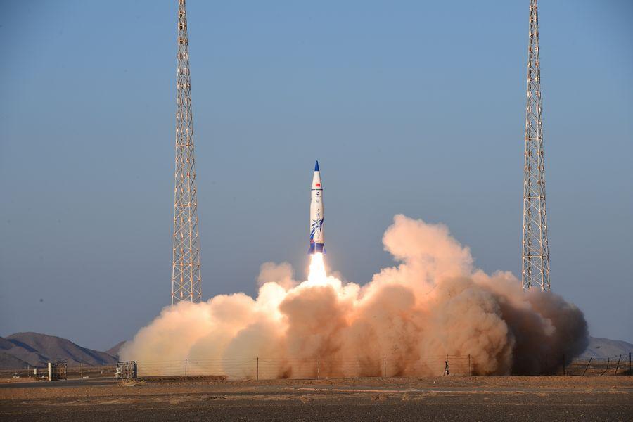 La fusée porteuse suborbitale commerciale, Tansuo-1, décolle du centre de lancement de satellites de Jiuquan, dans le nord-ouest de la Chine, le 25 décembre 2019. (Xinhua/Wang Jiangbo)