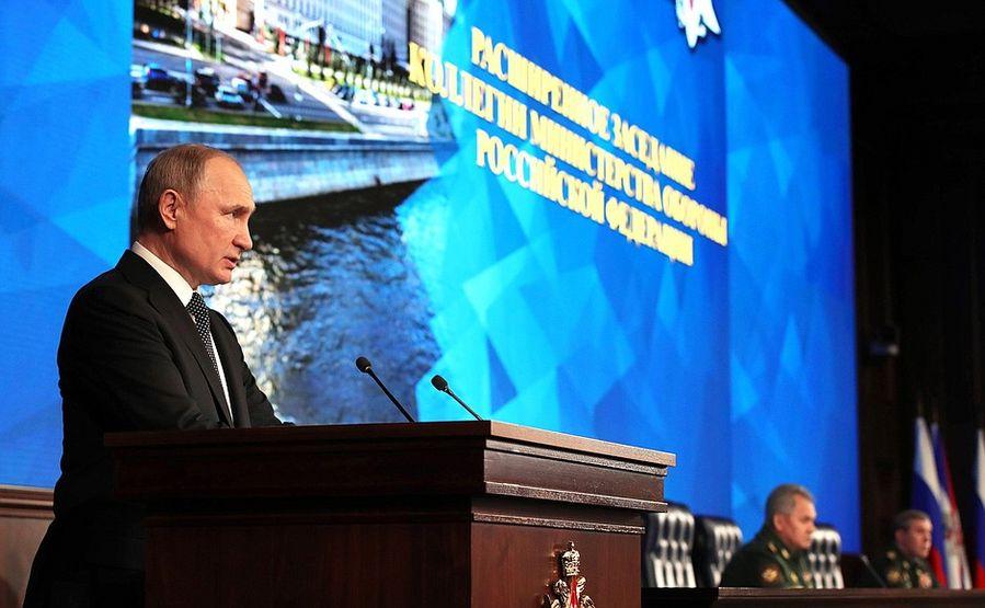 Le président russe Vladimir Poutine s'exprime lors d'une réunion élargie du conseil du ministère russe de la Défense à Moscou, en Russie, le 24 décembre 2019. (Photo/Kremlin)