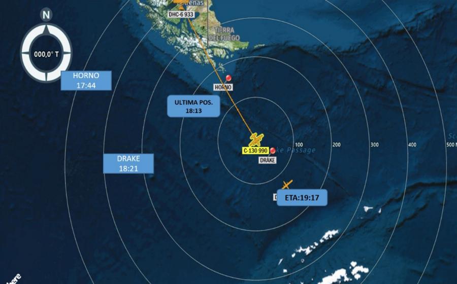 Carte montrant l'itinéraire de l'appareil de l'armée de l'Air chilienne porté disparu. (Crédit : armée de l'Air chilienne)