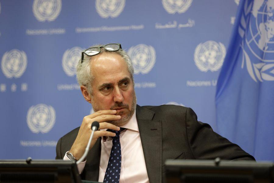 Stéphane Dujarric, porte-parole du secrétaire général des Nations Unies, Antonio Guterres, lors d'un point de presse au siège des Nations Unies à New York sur la mort du journaliste saoudien Jamal Khashoggi, le 19 juin 2019. (Xinhua/Li Muzi)