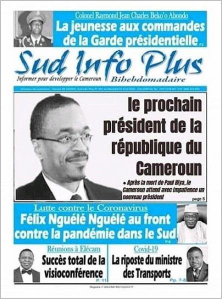 Franck Biya dans le journal Sud Infos Plus