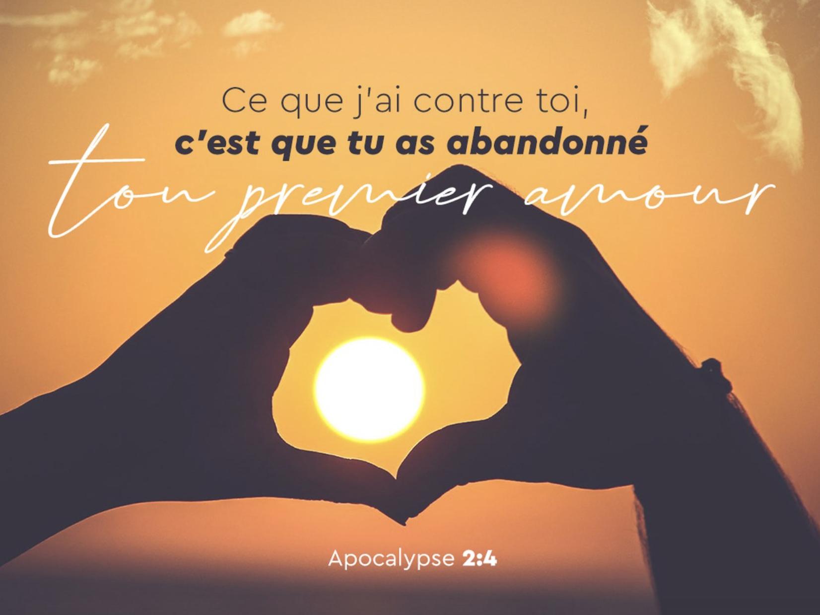 """""""Ce que j'ai contre toi, c'est que tu as abandonné ton premier amour... Souviens-toi donc d'où tu es tombé, repens-toi"""" (Apocalypse 2:4)"""
