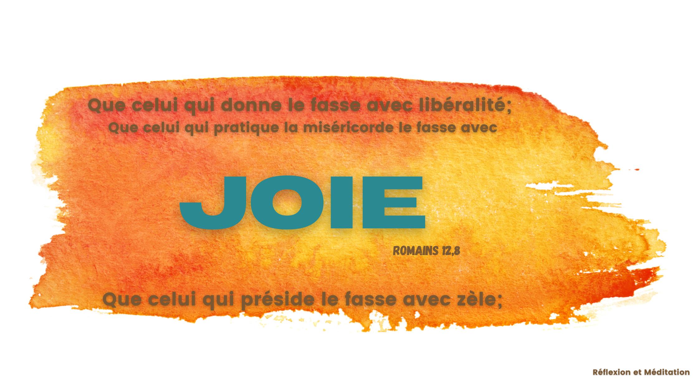 Que celui qui donne le fasse avec libéralité; que celui qui préside le fasse avec zèle; que celui qui pratique la miséricorde le fasse avec joie Romains 12,8 Commentaires de la Bible Annotée interlinéaire