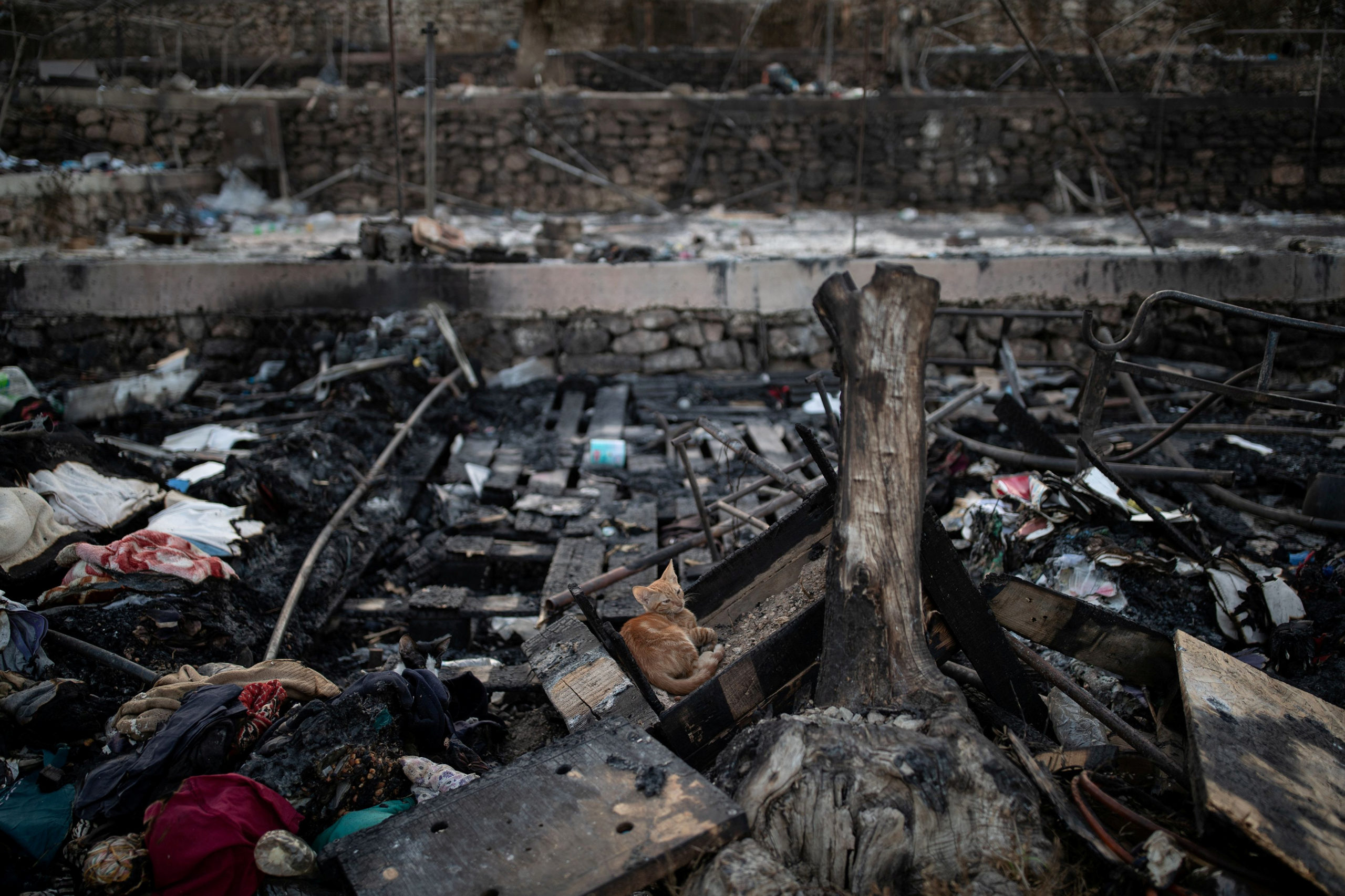 Grèce: Cinq migrants arrêtés après l'incendie d'un camp à Lesbos